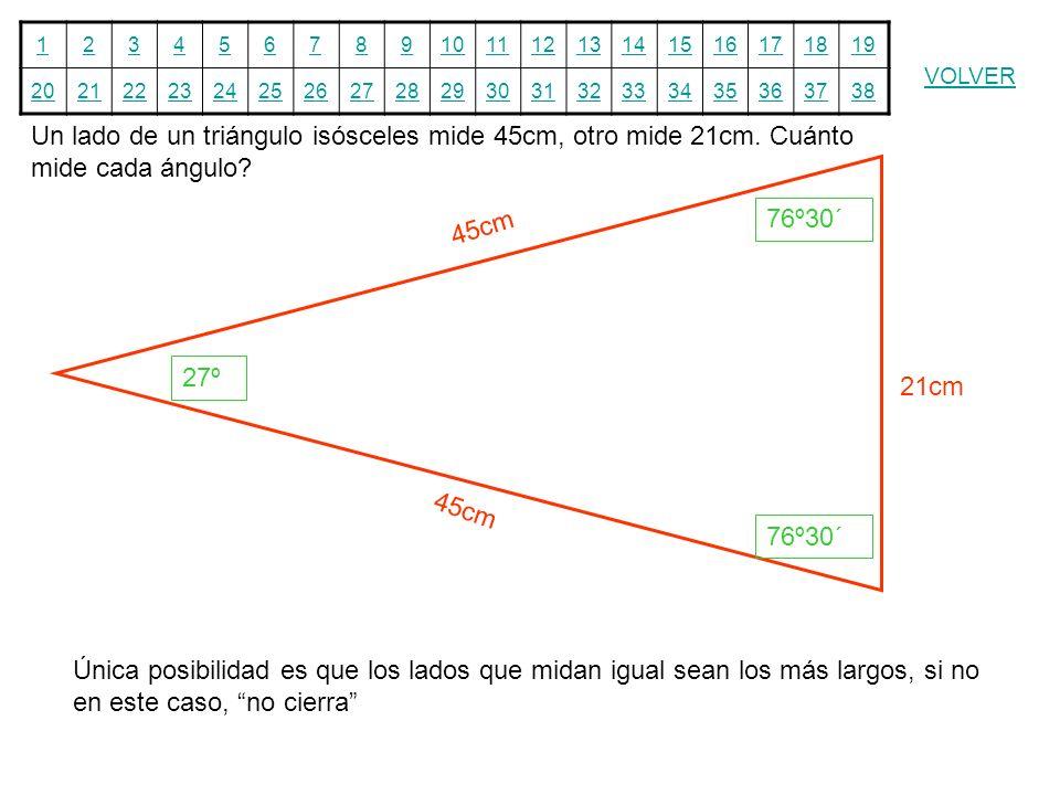 Un lado de un triángulo isósceles mide 45cm, otro mide 21cm