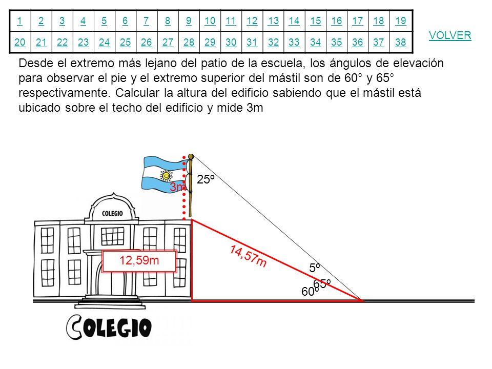 Desde el extremo más lejano del patio de la escuela, los ángulos de elevación para observar el pie y el extremo superior del mástil son de 60° y 65° respectivamente. Calcular la altura del edificio sabiendo que el mástil está ubicado sobre el techo del edificio y mide 3m