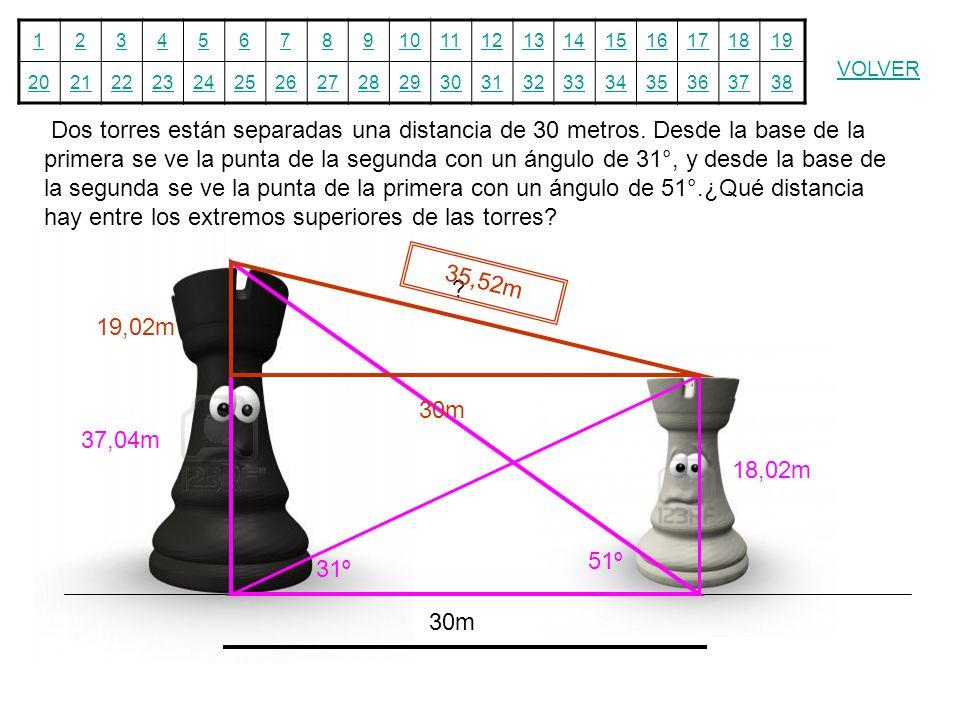Dos torres están separadas una distancia de 30 metros