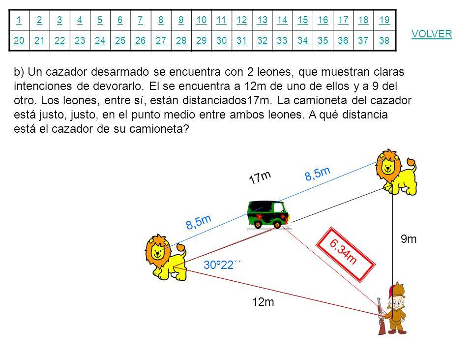 b) Un cazador desarmado se encuentra con 2 leones, que muestran claras intenciones de devorarlo. El se encuentra a 12m de uno de ellos y a 9 del otro. Los leones, entre sí, están distanciados17m. La camioneta del cazador está justo, justo, en el punto medio entre ambos leones. A qué distancia está el cazador de su camioneta