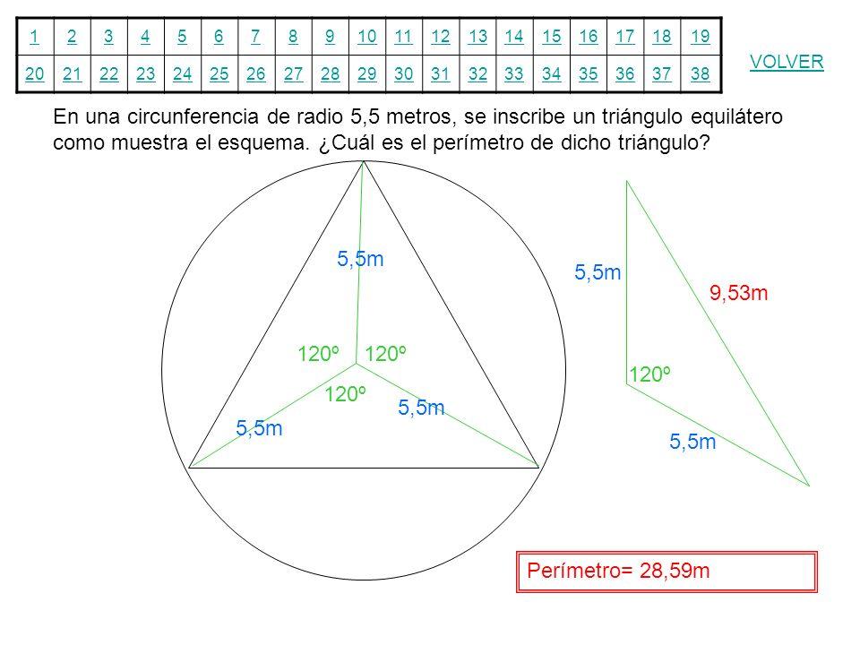En una circunferencia de radio 5,5 metros, se inscribe un triángulo equilátero como muestra el esquema. ¿Cuál es el perímetro de dicho triángulo