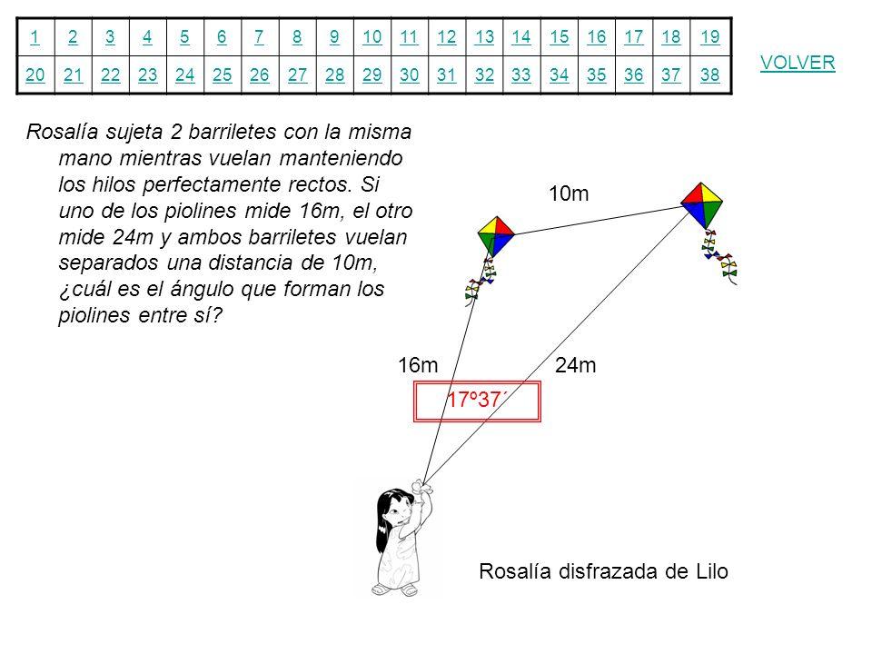 Rosalía sujeta 2 barriletes con la misma mano mientras vuelan manteniendo los hilos perfectamente rectos. Si uno de los piolines mide 16m, el otro mide 24m y ambos barriletes vuelan separados una distancia de 10m, ¿cuál es el ángulo que forman los piolines entre sí