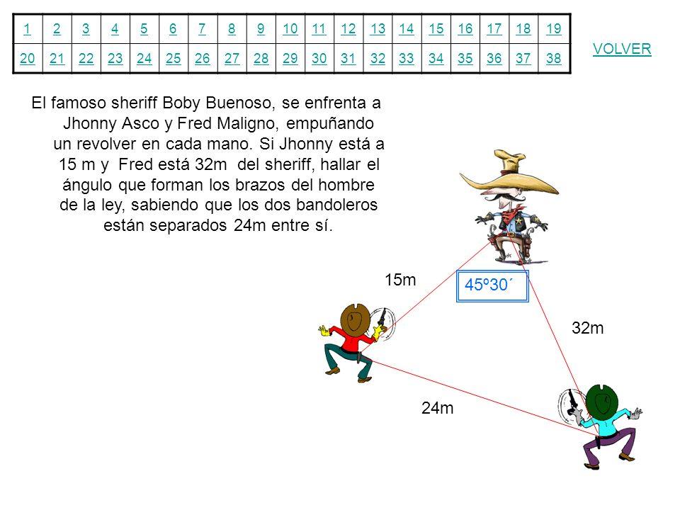 El famoso sheriff Boby Buenoso, se enfrenta a Jhonny Asco y Fred Maligno, empuñando un revolver en cada mano. Si Jhonny está a 15 m y Fred está 32m del sheriff, hallar el ángulo que forman los brazos del hombre de la ley, sabiendo que los dos bandoleros están separados 24m entre sí.