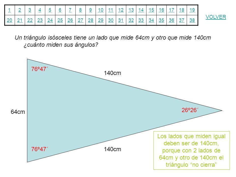 Un triángulo isósceles tiene un lado que mide 64cm y otro que mide 140cm ¿cuánto miden sus ángulos