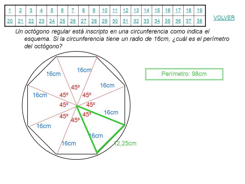 Un octógono regular está inscripto en una circunferencia como indica el esquema. Si la circunferencia tiene un radio de 16cm, ¿cuál es el perímetro del octógono