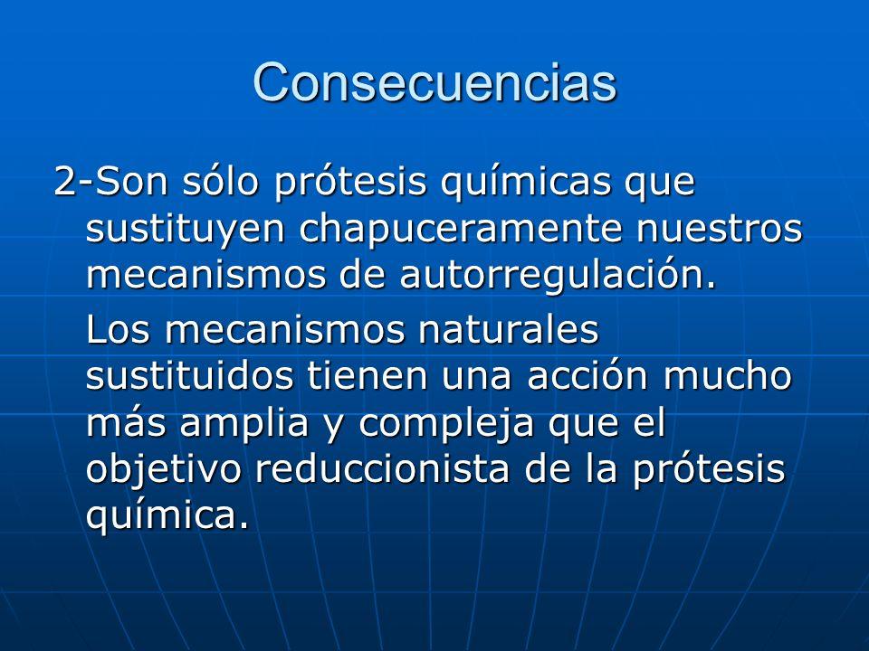 Consecuencias 2-Son sólo prótesis químicas que sustituyen chapuceramente nuestros mecanismos de autorregulación.