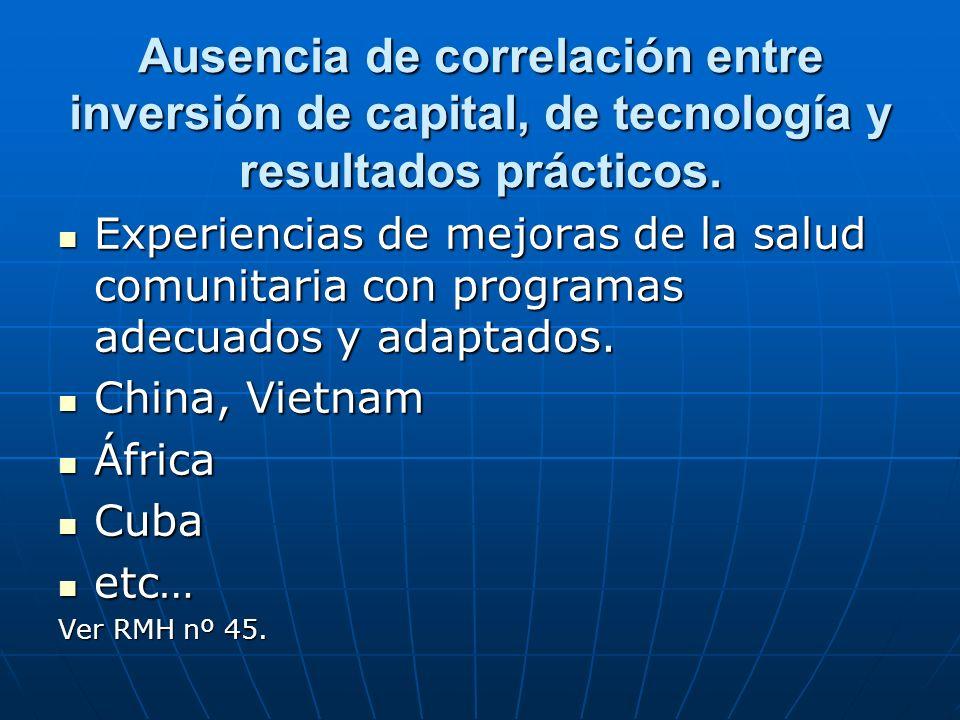 Ausencia de correlación entre inversión de capital, de tecnología y resultados prácticos.