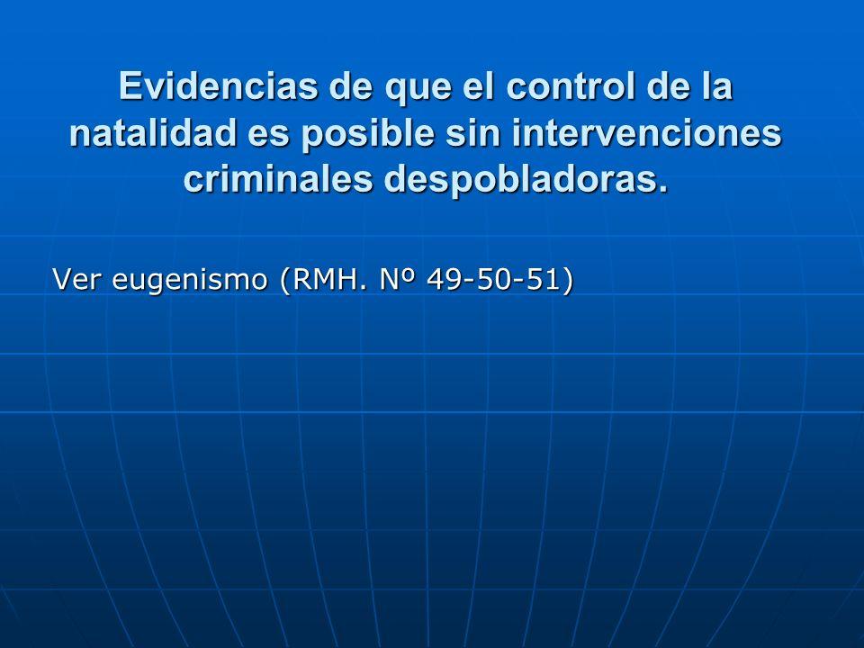 Evidencias de que el control de la natalidad es posible sin intervenciones criminales despobladoras.