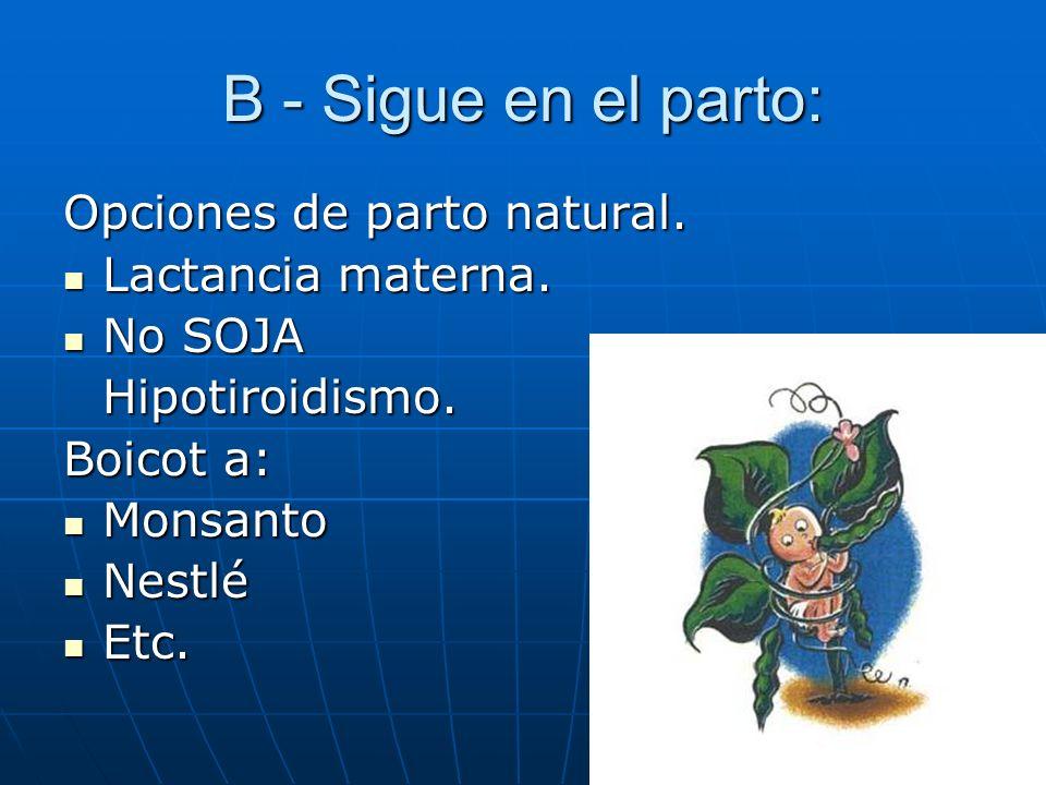 B - Sigue en el parto: Opciones de parto natural. Lactancia materna.