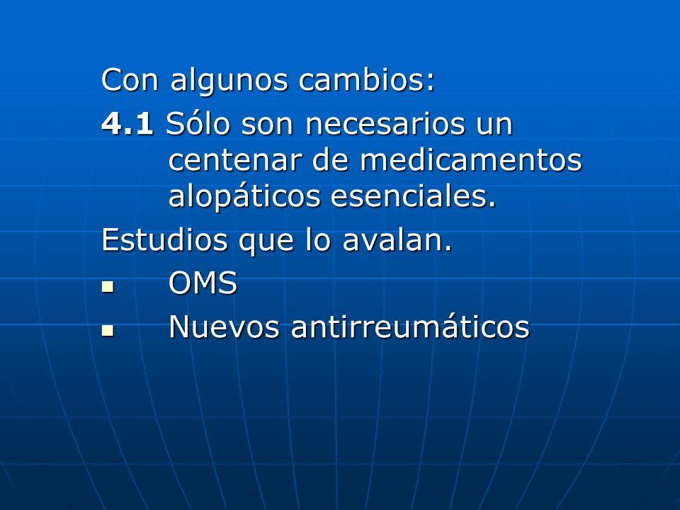 Con algunos cambios: 4.1 Sólo son necesarios un centenar de medicamentos alopáticos esenciales. Estudios que lo avalan.