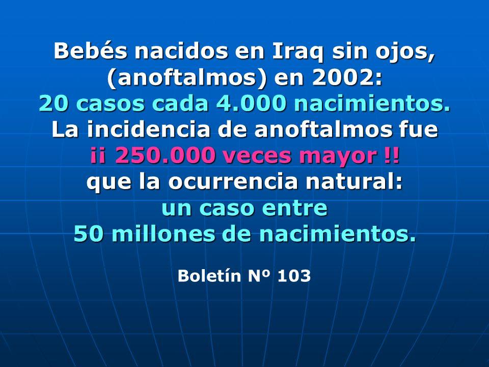 Bebés nacidos en Iraq sin ojos, (anoftalmos) en 2002: