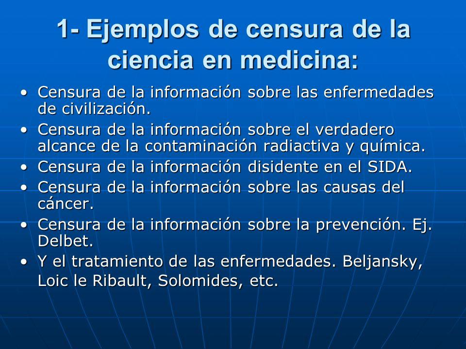 1- Ejemplos de censura de la ciencia en medicina: