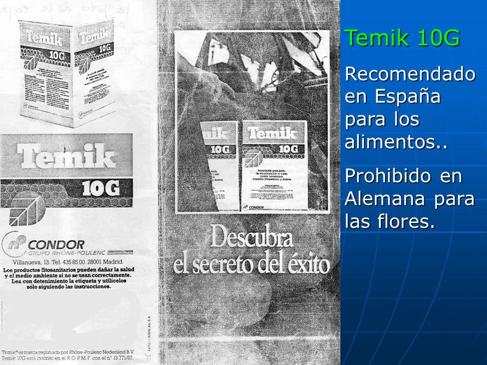 Temik 10G Recomendado en España para los alimentos..