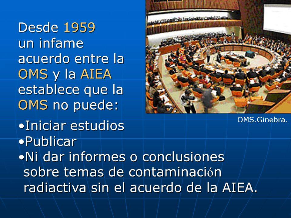 Desde 1959 un infame acuerdo entre la OMS y la AIEA establece que la OMS no puede: