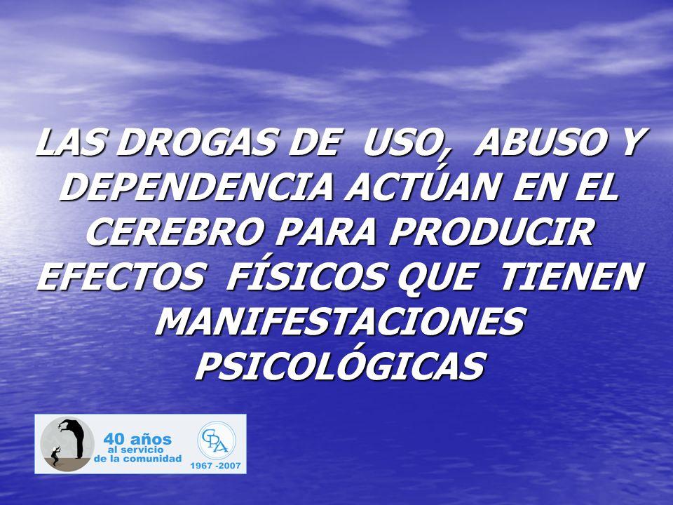 LAS DROGAS DE USO, ABUSO Y DEPENDENCIA ACTÚAN EN EL CEREBRO PARA PRODUCIR EFECTOS FÍSICOS QUE TIENEN MANIFESTACIONES PSICOLÓGICAS