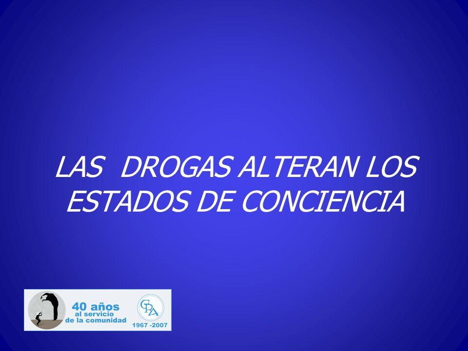 LAS DROGAS ALTERAN LOS ESTADOS DE CONCIENCIA