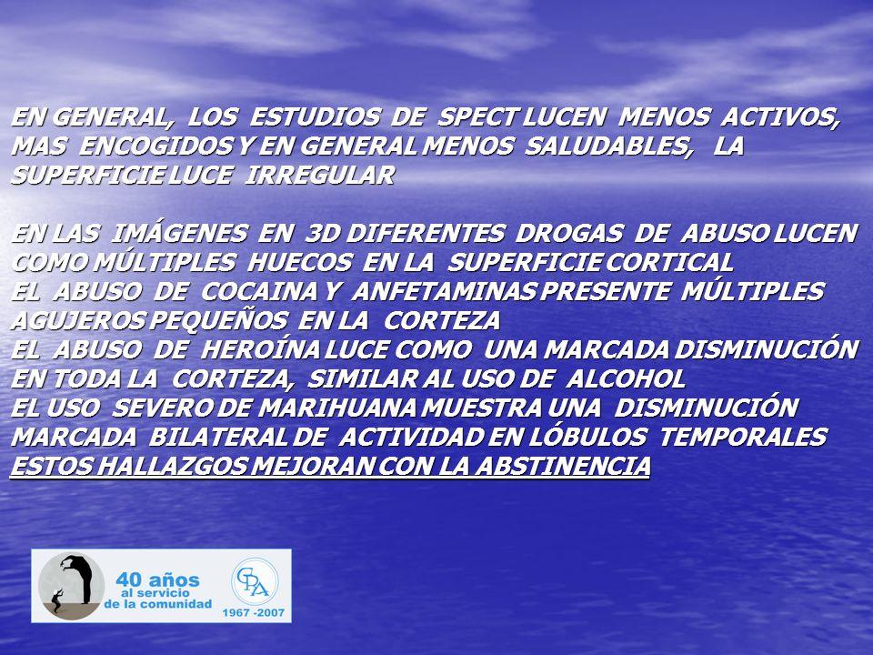 EN GENERAL, LOS ESTUDIOS DE SPECT LUCEN MENOS ACTIVOS, MAS ENCOGIDOS Y EN GENERAL MENOS SALUDABLES, LA SUPERFICIE LUCE IRREGULAR EN LAS IMÁGENES EN 3D DIFERENTES DROGAS DE ABUSO LUCEN COMO MÚLTIPLES HUECOS EN LA SUPERFICIE CORTICAL EL ABUSO DE COCAINA Y ANFETAMINAS PRESENTE MÚLTIPLES AGUJEROS PEQUEÑOS EN LA CORTEZA EL ABUSO DE HEROÍNA LUCE COMO UNA MARCADA DISMINUCIÓN EN TODA LA CORTEZA, SIMILAR AL USO DE ALCOHOL EL USO SEVERO DE MARIHUANA MUESTRA UNA DISMINUCIÓN MARCADA BILATERAL DE ACTIVIDAD EN LÓBULOS TEMPORALES ESTOS HALLAZGOS MEJORAN CON LA ABSTINENCIA