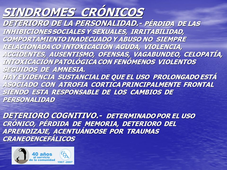 SINDROMES CRÓNICOS DETERIORO DE LA PERSONALIDAD