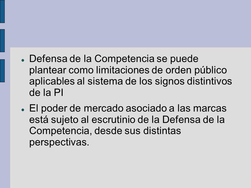 Defensa de la Competencia se puede plantear como limitaciones de orden público aplicables al sistema de los signos distintivos de la PI