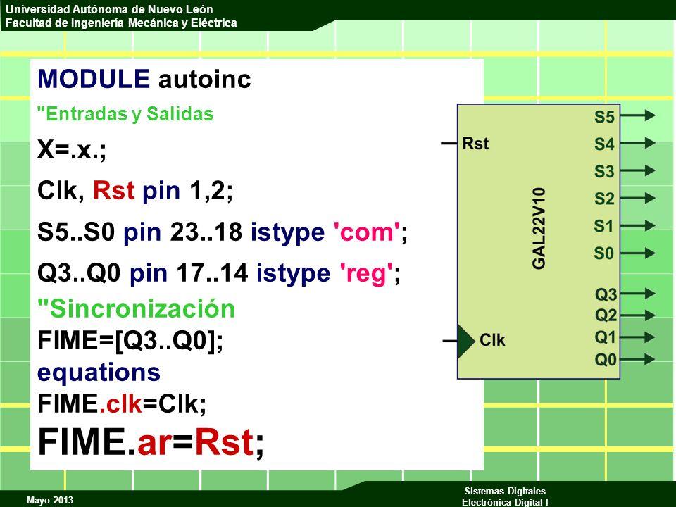FIME.ar=Rst; MODULE autoinc X=.x.; Clk, Rst pin 1,2;