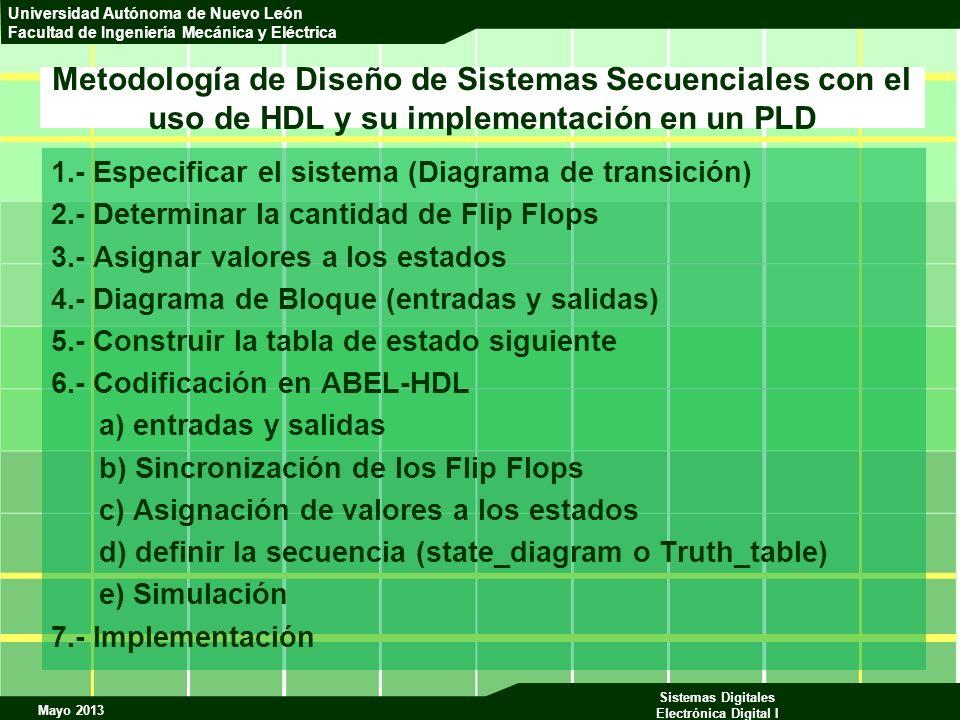Metodología de Diseño de Sistemas Secuenciales con el uso de HDL y su implementación en un PLD