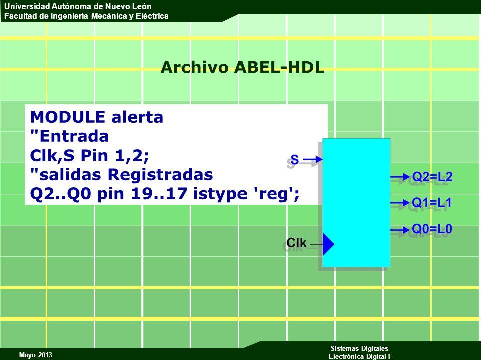 Archivo ABEL-HDL MODULE alerta. Entrada. Clk,S Pin 1,2; salidas Registradas.