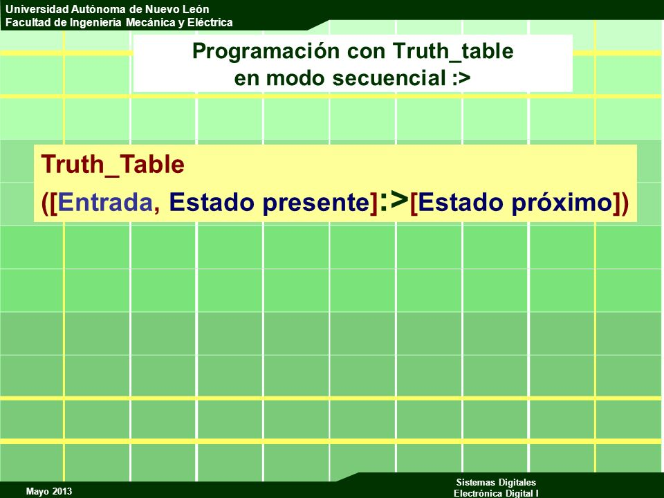 Programación con Truth_table en modo secuencial :>