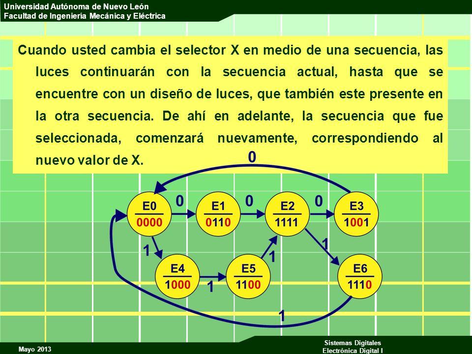 Cuando usted cambia el selector X en medio de una secuencia, las luces continuarán con la secuencia actual, hasta que se encuentre con un diseño de luces, que también este presente en la otra secuencia.