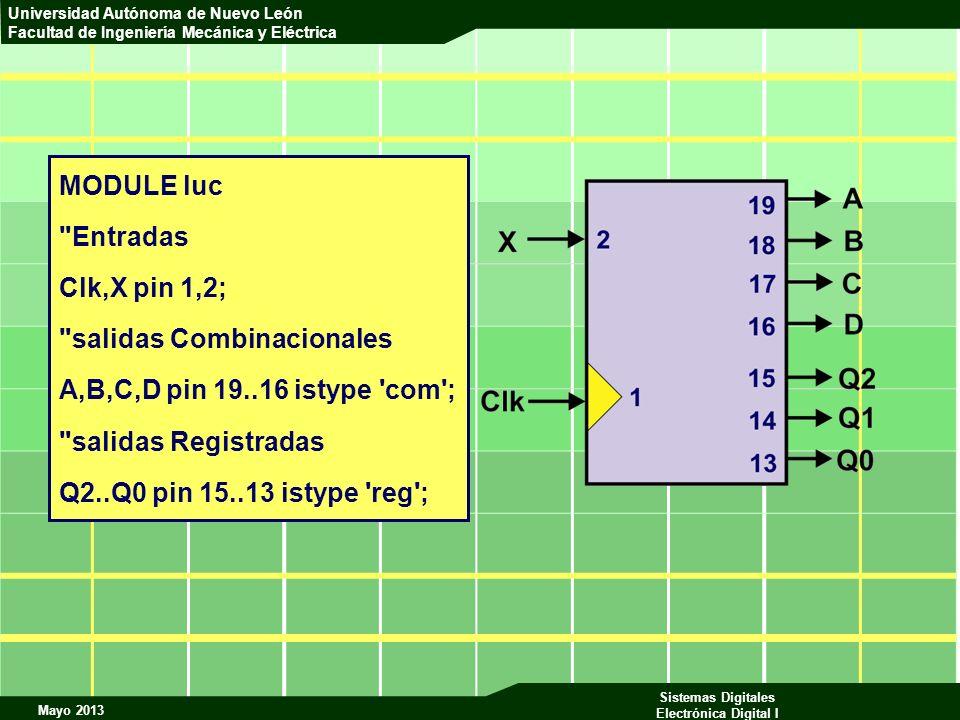 MODULE luc Entradas. Clk,X pin 1,2; salidas Combinacionales. A,B,C,D pin 19..16 istype com ; salidas Registradas.