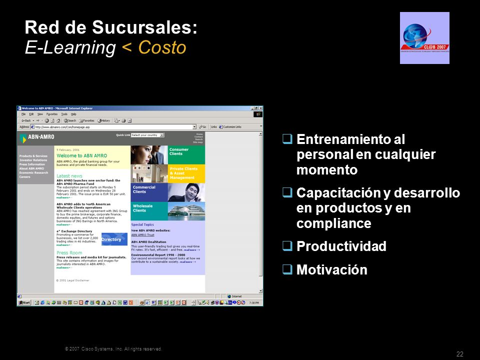 Red de Sucursales: E-Learning < Costo