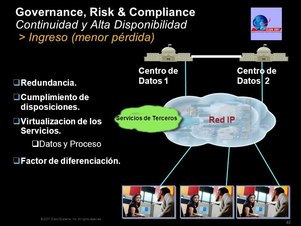 Governance, Risk & Compliance Continuidad y Alta Disponibilidad > Ingreso (menor pérdida)