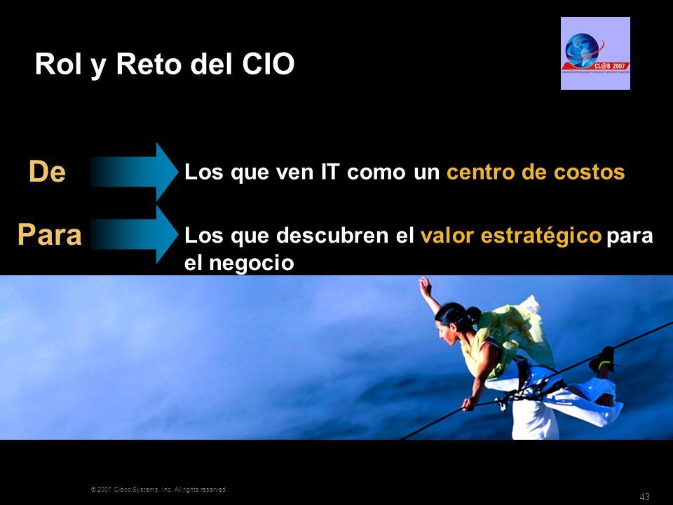 Rol y Reto del CIO De Para Los que ven IT como un centro de costos