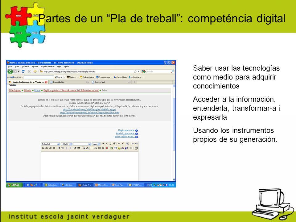 Partes de un Pla de treball : competéncia digital