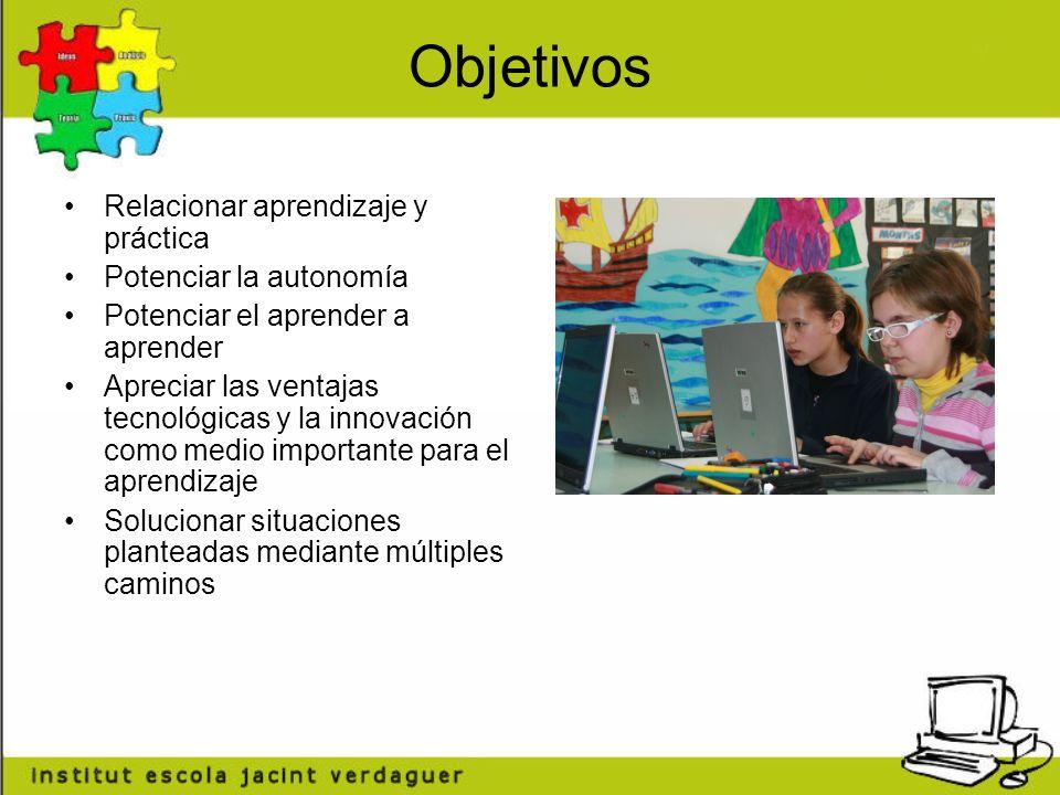 Objetivos Relacionar aprendizaje y práctica Potenciar la autonomía