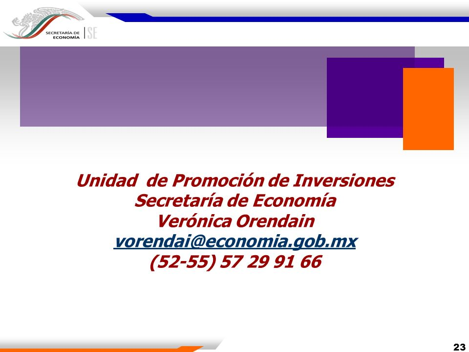 Unidad de Promoción de Inversiones Secretaría de Economía