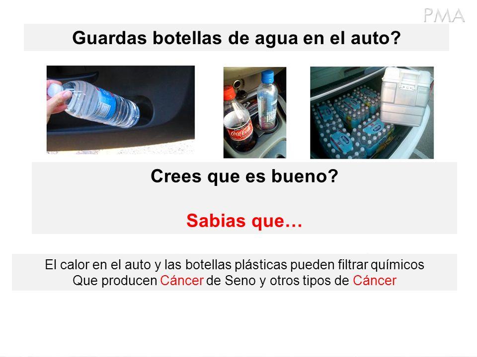 Guardas botellas de agua en el auto
