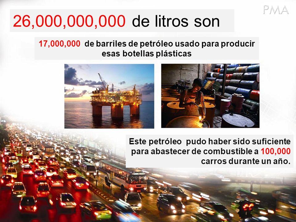 26,000,000,000 de litros son 17,000,000 de barriles de petróleo usado para producir esas botellas plásticas.