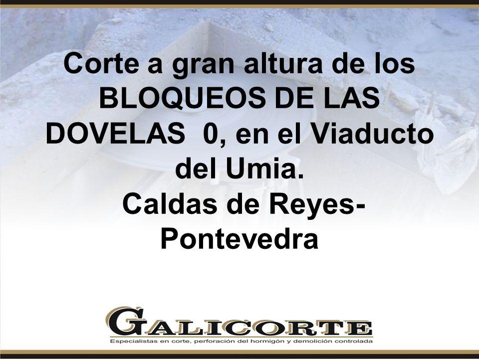 Corte a gran altura de los BLOQUEOS DE LAS DOVELAS 0, en el Viaducto del Umia.