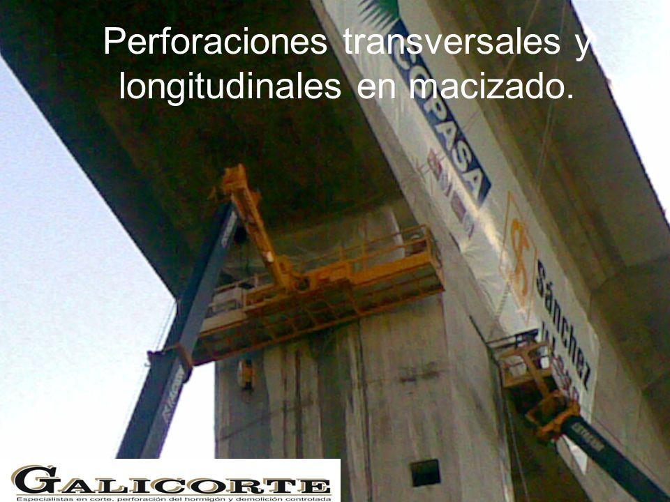 Perforaciones transversales y longitudinales en macizado.