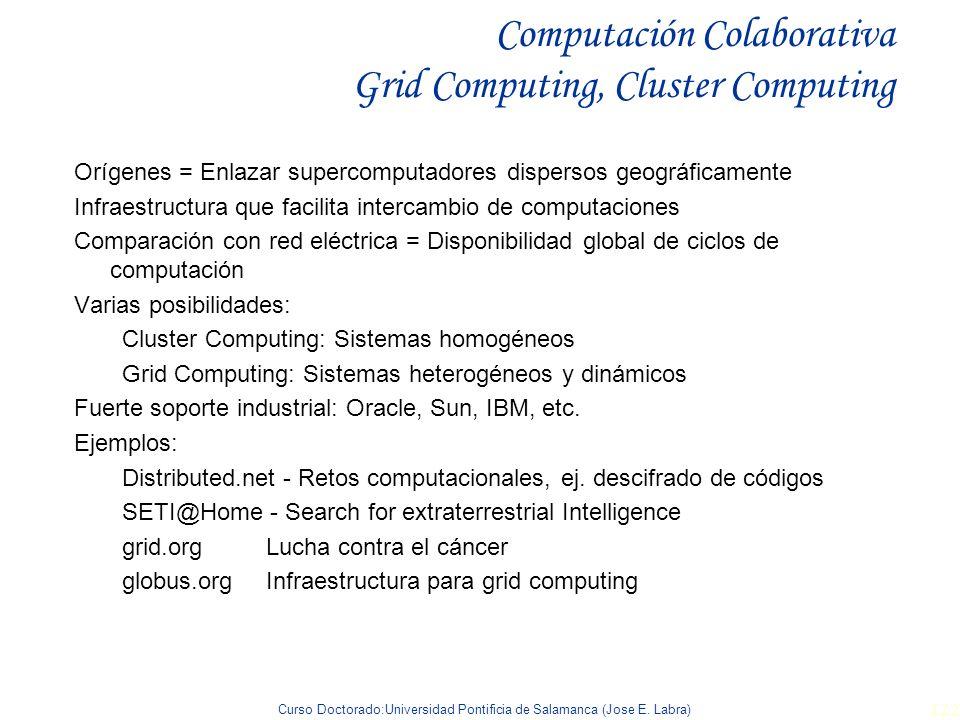 Computación Colaborativa Grid Computing, Cluster Computing