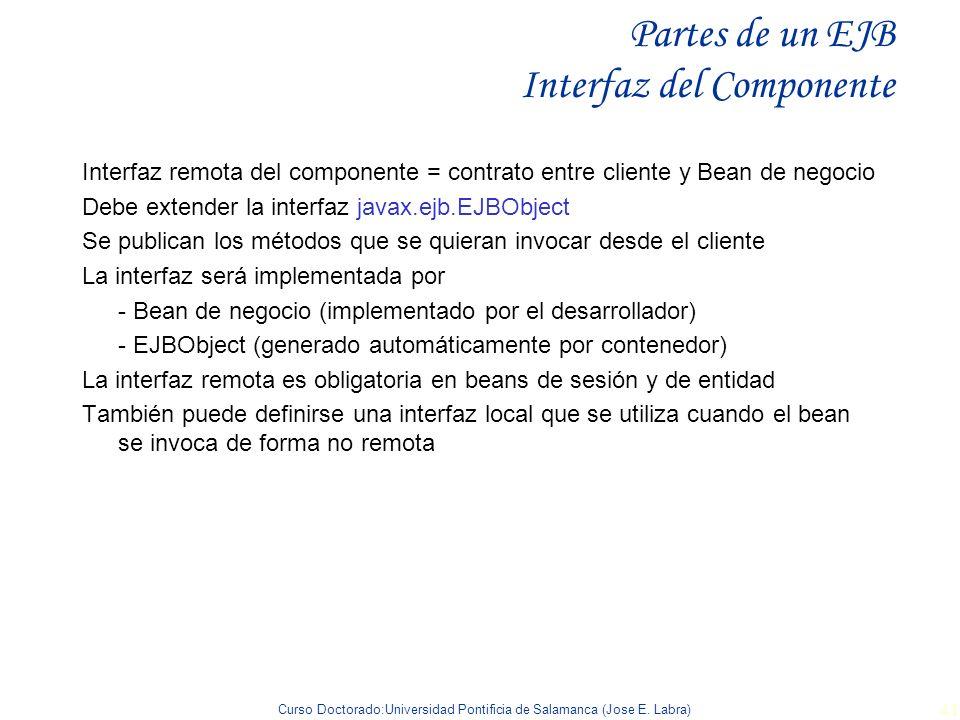 Partes de un EJB Interfaz del Componente