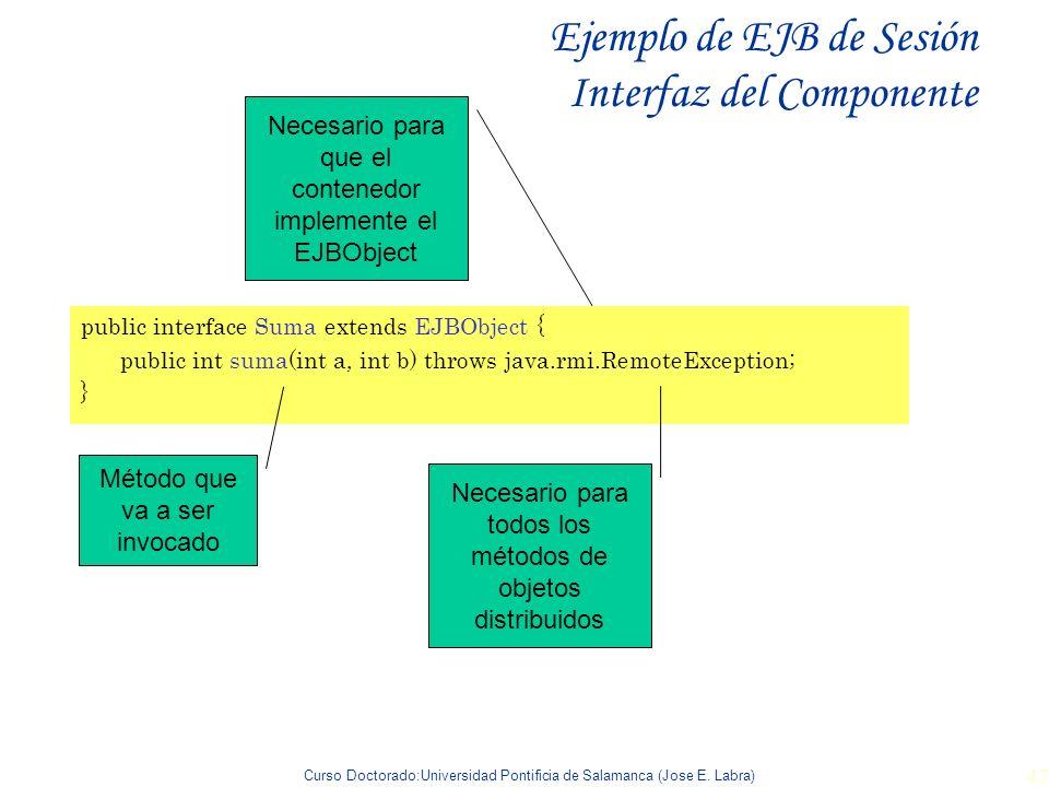 Ejemplo de EJB de Sesión Interfaz del Componente