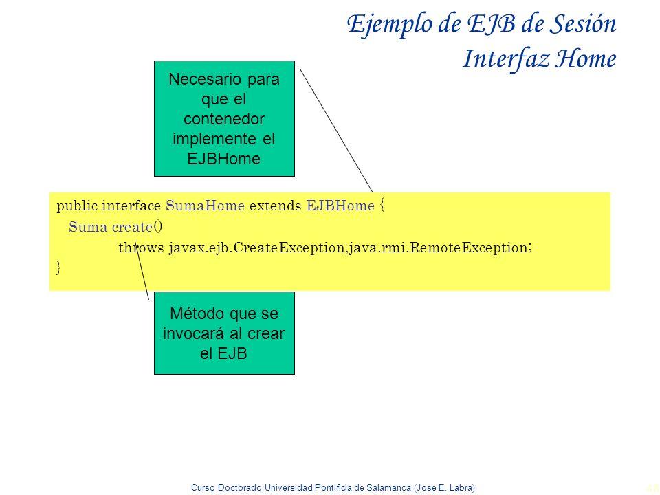 Ejemplo de EJB de Sesión Interfaz Home