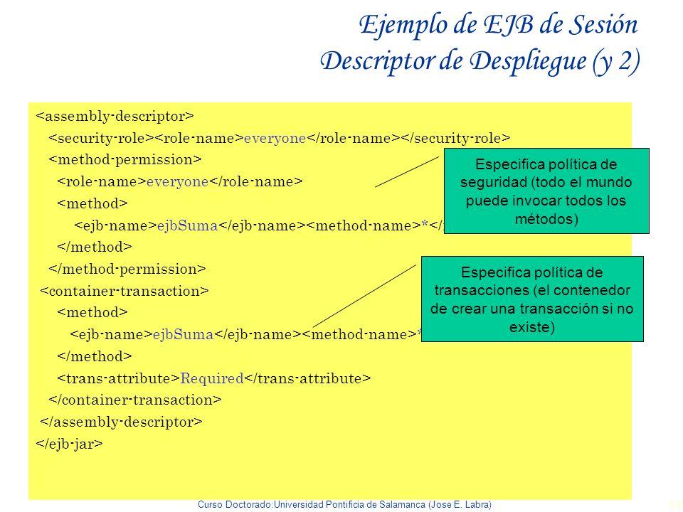 Ejemplo de EJB de Sesión Descriptor de Despliegue (y 2)