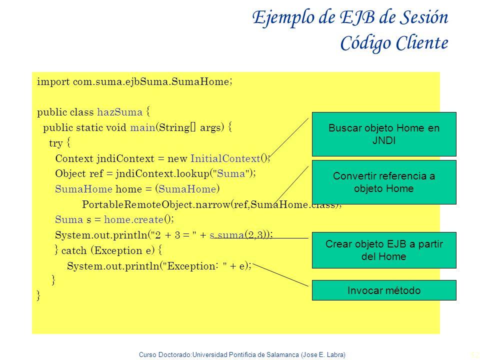 Ejemplo de EJB de Sesión Código Cliente