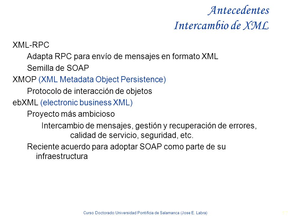 Antecedentes Intercambio de XML