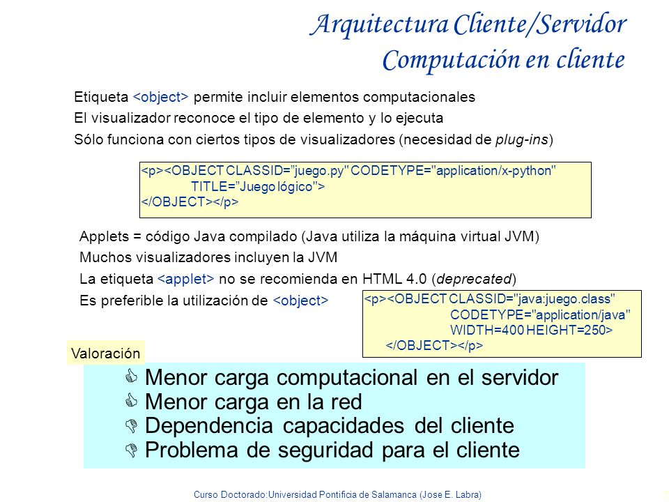 Arquitectura Cliente/Servidor Computación en cliente