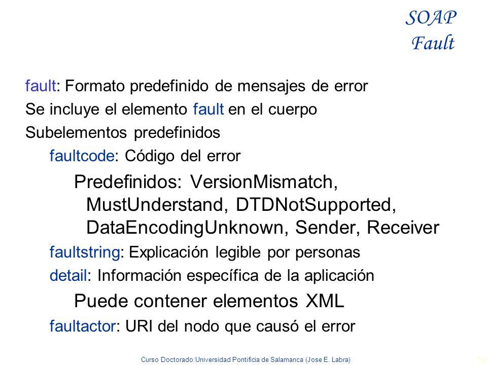 SOAP Fault fault: Formato predefinido de mensajes de error. Se incluye el elemento fault en el cuerpo.