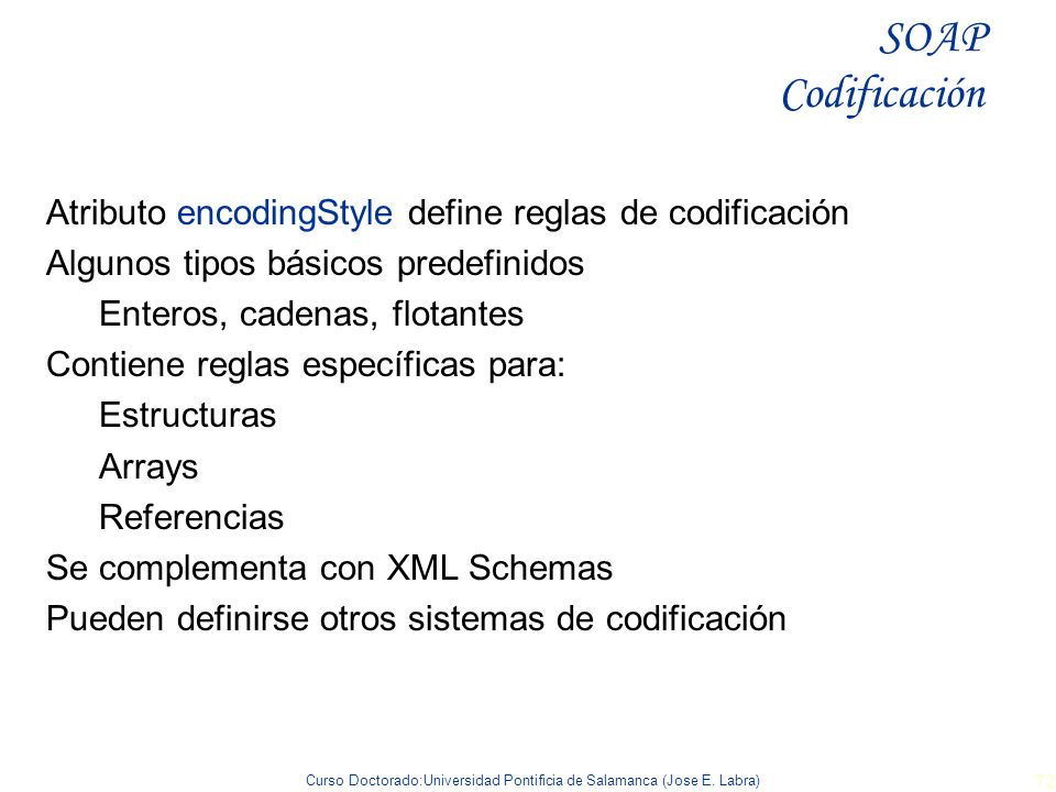 SOAP Codificación Atributo encodingStyle define reglas de codificación
