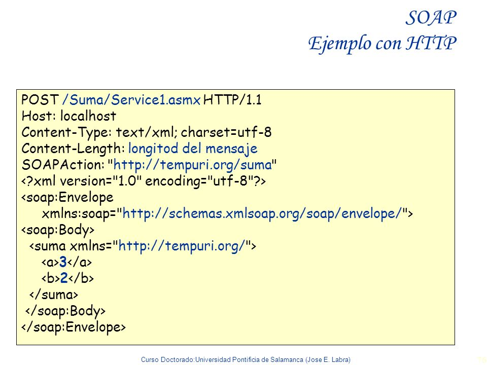SOAP Ejemplo con HTTP POST /Suma/Service1.asmx HTTP/1.1